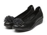 2014春季新款真皮粗跟女单鞋中跟女鞋浅口珠子花工作鞋女式皮鞋
