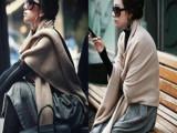 2013新款 贝儿时尚经典百搭 HM专柜同款 纯色毛线针织大披肩