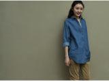 厂家直销长期供应2013韩版长款百搭纯棉牛仔宽松长袖女式衬衫批发