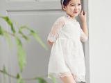 皮皮豆童装批发 韩国女童春款蕾丝中袖连衣裙儿童礼服公主裙