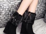 欧洲站新款真皮女靴 时尚欧美中筒靴 坡跟