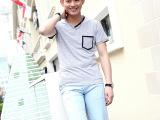 淘宝热卖 男士韩版时尚修身男短袖 个性男士纯色V领短袖T恤 男