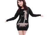 批发2014秋冬新款 女式羊毛衫 韩版长袖修身花朵中长款毛衣女打