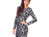 女装连衣裙秋冬夜店欧美银色亮片花朵图案圆领长袖连衣裙一件代发