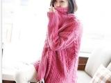 韩国代购复古麻花高领毛衣宽松套头秋冬新款蝙蝠衫韩版针织衫