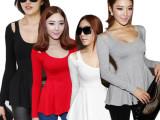 长袖女式T衫批发 明星同款  2014韩版圆领莫代尔棉修身长袖打