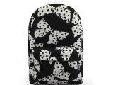 ZANDL冬季新款 日韩黑白波点蝴蝶结帆布书包 中学生双侧袋背包
