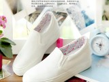 2015夏低帮纯色套脚帆布鞋女懒人鞋厚底松糕学生一脚蹬白色手绘鞋