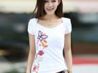 2014春季新款正品绣花韩版女装青春修身短袖T恤  BY401