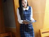 2015秋装新款女装  韩版修身格子娃娃领假两件连衣裙