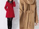 秋冬女装羊毛呢外套大码双排扣毛呢 加绒加厚 女式韩版羊绒大衣女