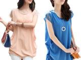 厂家直销2014新款夏季女装中长款雪纺上衣宽松气质短袖雪纺衫