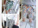 2015夏男童小童背带裤 格子条纹背带中裤 品牌外贸童装 全棉开
