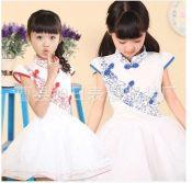 六一青花瓷演出服表演服儿童公主裙蓬蓬裙中小学生大合唱舞台服装