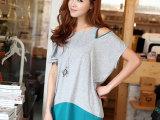 夏装女装韩版露肩拉链撞色宽松短袖T恤女长款蝙蝠衫