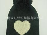 外贸出口心形提花带球帽子围巾手套三件套