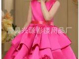 厂家现货批发多色儿童舞蹈服 夏季新款无袖精美六一女童表演裙