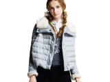 2014冬季欧美新款羽绒服女式短款羽绒服女宽松兔毛领 羽绒服女