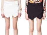 欧美风黑白色几何不规则休闲高腰短裤 热裤 打底裤 裤裙女