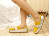 女深口单鞋2014新款春秋时尚英伦风磨砂真皮拼色低跟黄色女单鞋