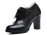 温州厂家批发夏季新款潮粗跟女单鞋真皮蕾丝女士高跟单鞋零售