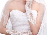 婚纱新娘手套/米白长款手套/露指蕾丝手套/礼服饰品厂家直销批发