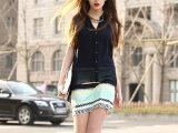 批发2014新款女装欧美风雪纺V领假两件彩色条纹拼接无袖连衣裙
