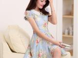 韩版品牌连衣裙 夏季娃娃领泡泡袖花朵中腰短裙 新款雪纺连衣裙