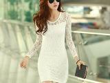 春夏装新款女装修身长袖打底裙韩版显瘦圆领蕾丝性感大码连衣裙