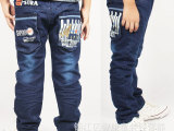 童装男童牛仔裤 新款中大儿童长裤 弹力缎纹柔软韩版裤 厂家批发