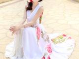 2015夏季新款时尚简约复古雪纺印花连衣裙圆领无袖高腰大摆女长裙