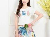 2015夏季新款女装 韩版棉麻短袖套装 时尚撞色短裙两件套