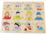 木制质家庭成员认知手抓板拼图拼板 儿童益智宝宝动手玩具