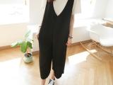 韩国夏装新品休闲时尚宽松韩版纯色连衣裤V领背带七分裤PS1206
