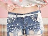 2014新款韩版 时尚珍珠破洞装饰 蕾丝系带 时尚女牛仔短裤