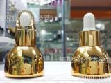 高端爆款30毫升逆时空电镀半球形精油瓶玻璃瓶配电化铝胶头滴管盖