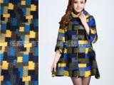 新款女式羊毛呢子外套格纹宽松大衣中长款