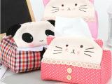 加大加厚款超萌可爱布艺熊猫纸巾盒家居纸巾套创意卡通毛绒纸巾抽