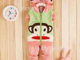 15春季新款 童装批发厂家直销 女童外贸圆点猴子儿童套装 0-4