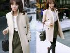9060#秋冬新款韩版显瘦双排扣中长款毛呢外套大衣女款