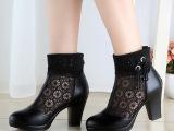 2014新款真皮裸靴子网靴牛皮高跟防水台女鞋镂空网纱流苏女凉靴子