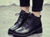 秋冬季新款系带短靴女士中跟马丁靴女英伦风粗跟单靴女鞋靴子批发