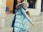 品牌女装2014冬季新款韩版修身中长款貉子毛领羽绒服棉服潮A6758