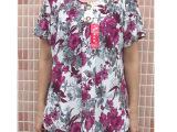 W中年女装 夏装新款 时尚妈妈装 圆领短袖大码中老年女装休闲