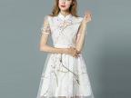 欧洲站2015新款夏季女装 时尚品牌气质印花无袖连衣裙外贸批发