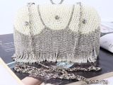 现货高档晚宴包镶钻珍珠手拿包纯手工珠绣包水钻晚装包外贸欧美单