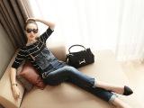薇尔女装秋季新款褶皱牛仔裤韩版时尚拼接背带裤女批发一件代发