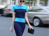 通勤ol气质加大码女装2015夏时尚职业修身显瘦撞色连衣裙蓝桔红