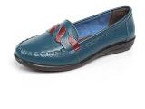 批发春夏新款女士真皮拼色休闲单鞋中老年孕妇妈妈鞋平底正宗牛皮