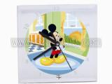 广州批发水晶玻璃画 工艺画 来图定制 20*20镜边时钟玻璃画B